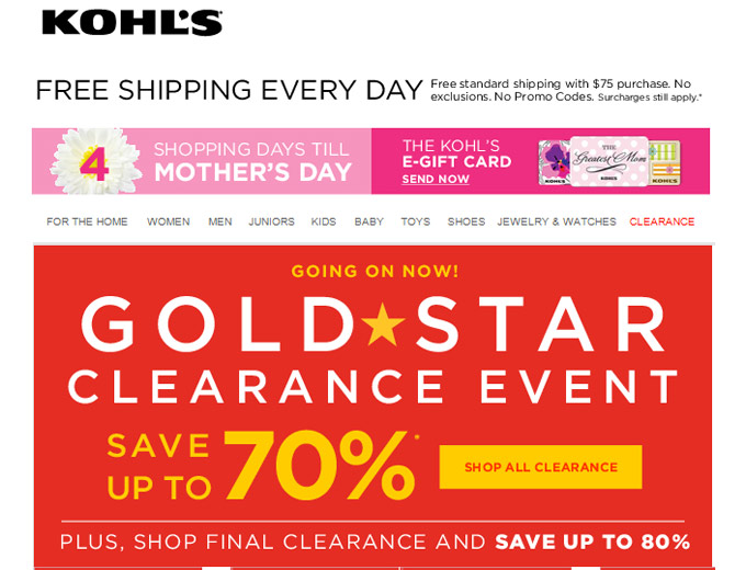 Save 80% off at Kohl's