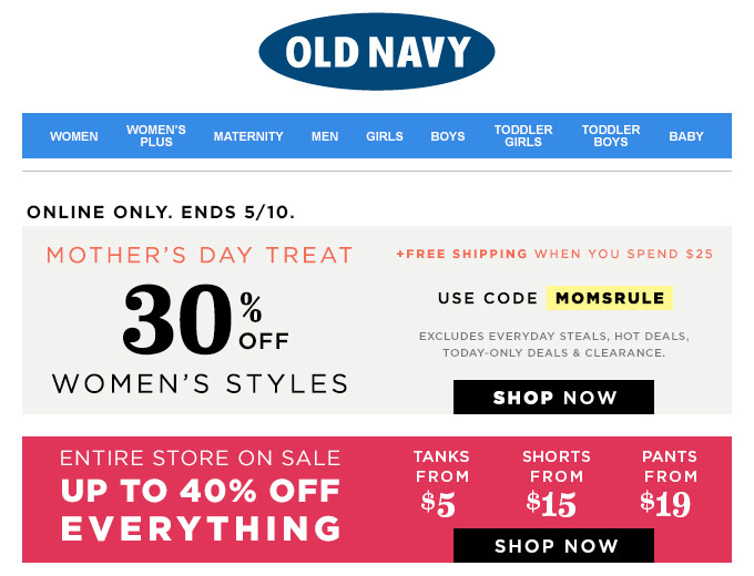Save 40% off Your Purchase at Old Navy