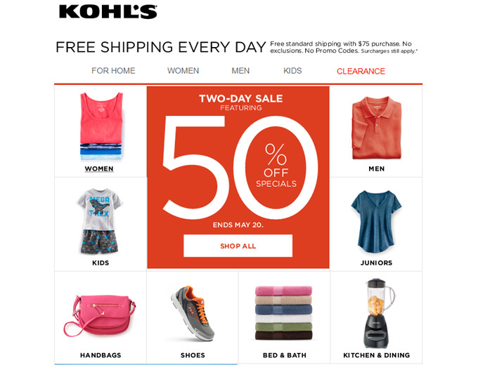 Kohl's 2-Day Sale - 50% off