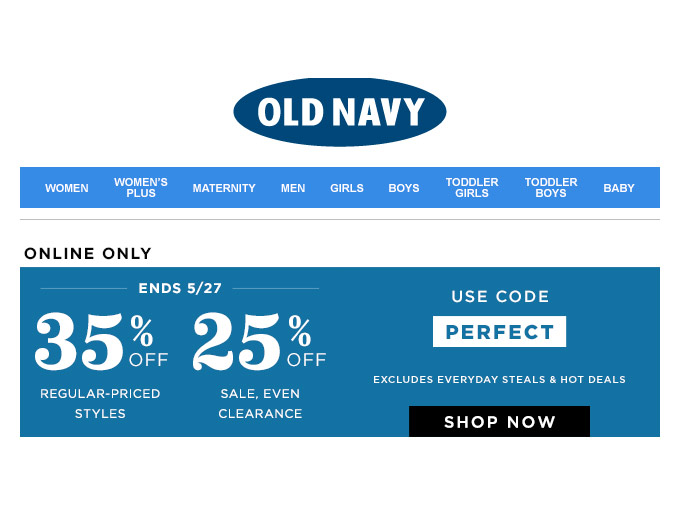 Save 35% off Regular Priced Styles at Old Navy
