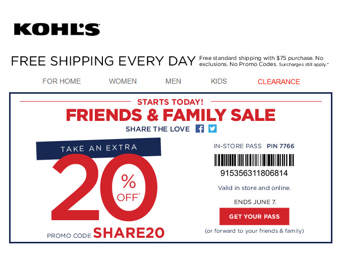 Extra 20% off Storewide at Kohls.com