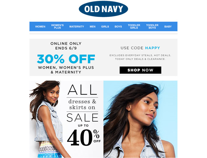 Save 30% off Your Purchase at Old Navy