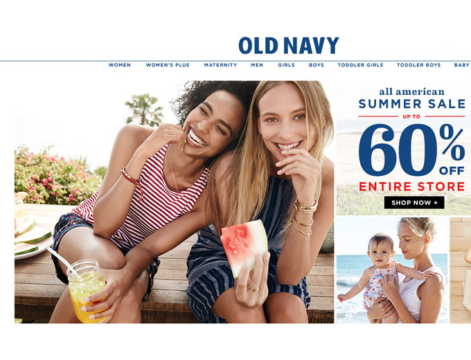 Old Navy Summer Sale - 60% off Everything