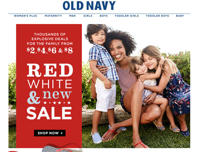 Old Navy Red, White & New Sale