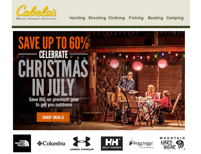 Cabela's Christmas in July Sale - 60% off