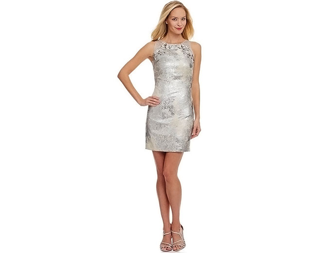 Phoebe by Kay Unger Sequined Metallic Sheath Dress