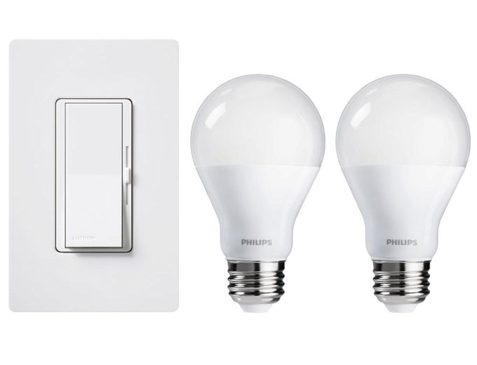 lutron diva led dimmer with 2 philips a19 led light bulbs