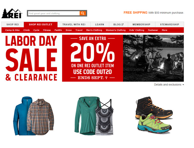 Labor Day Sale - Extra 20% off at REI Outlet