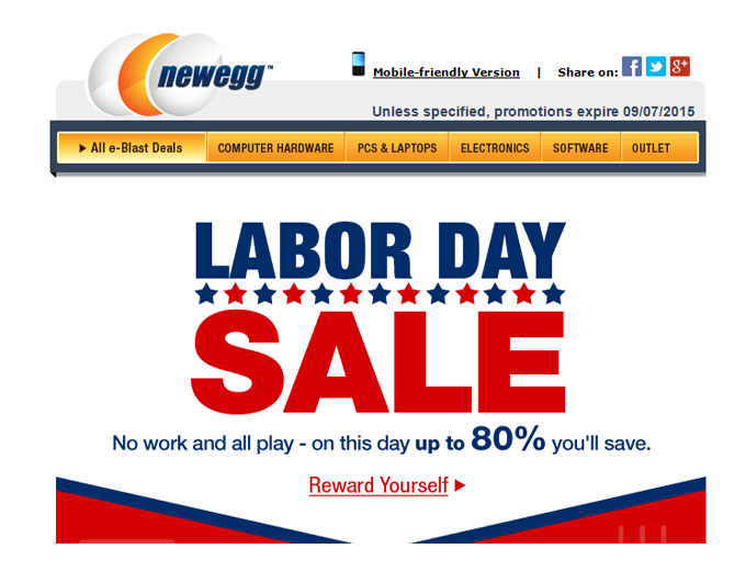 Newegg Labor Day Sale Event - 80% Off