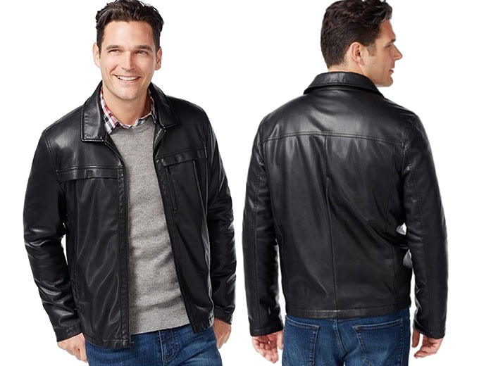 Kenneth Cole Smooth Faux-Leather Hipster Jacket