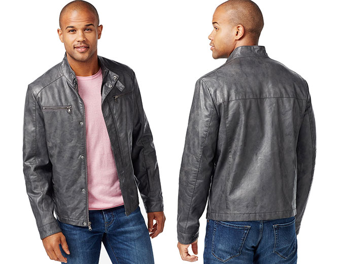 Kenneth Cole Faux-Leather Moto Marble Jacket