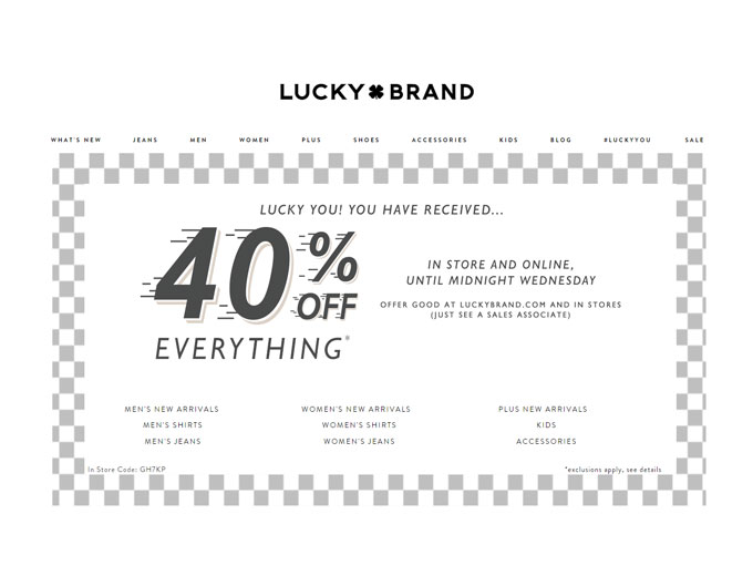 Lucky Brand Flash Sale - Up to 40%