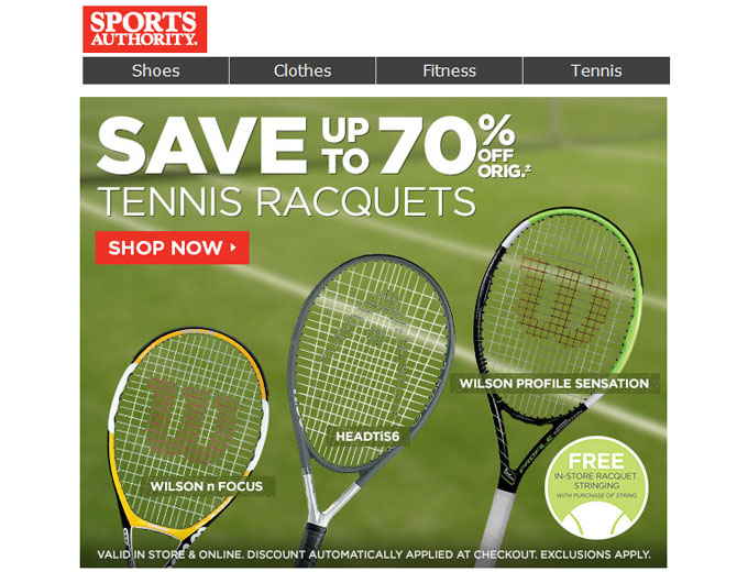 Save 70% off Tennis Rackets at Sports Authority