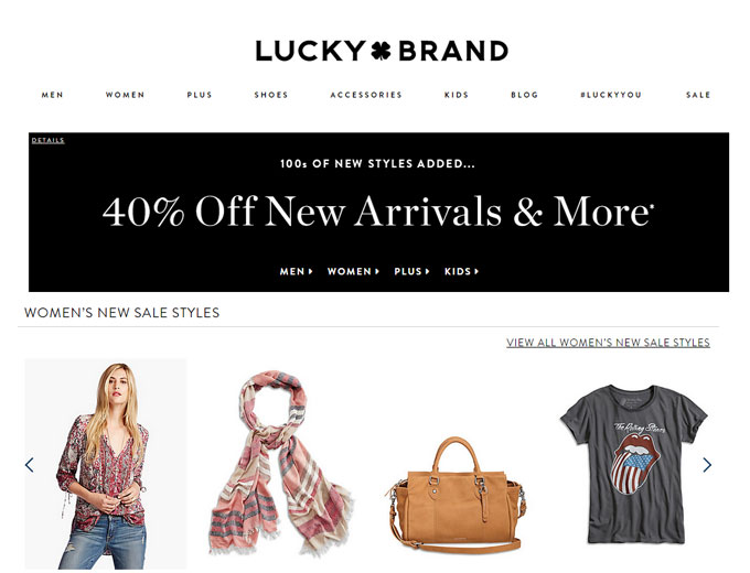 Extra 40% of Sale Styles at Lucky Brand