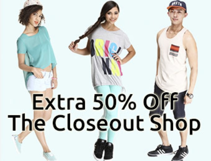 Extra 50% off Closeout Shop