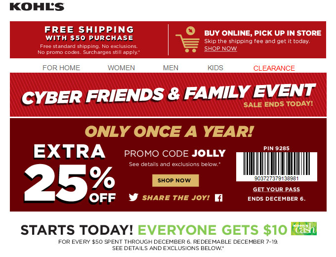 Extra 25% off Your Purchase at Kohl's