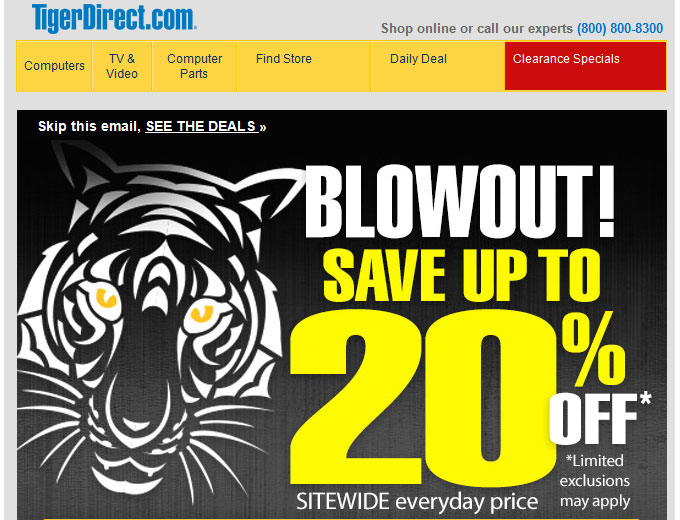 TigerDirect Blowout Sale - 20% off Sitewide