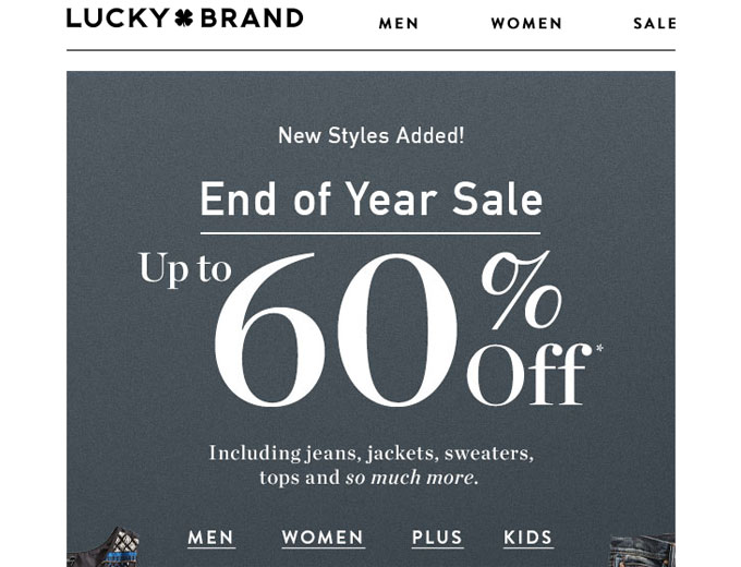 End of Year Sale - 60% off at Lucky Brand