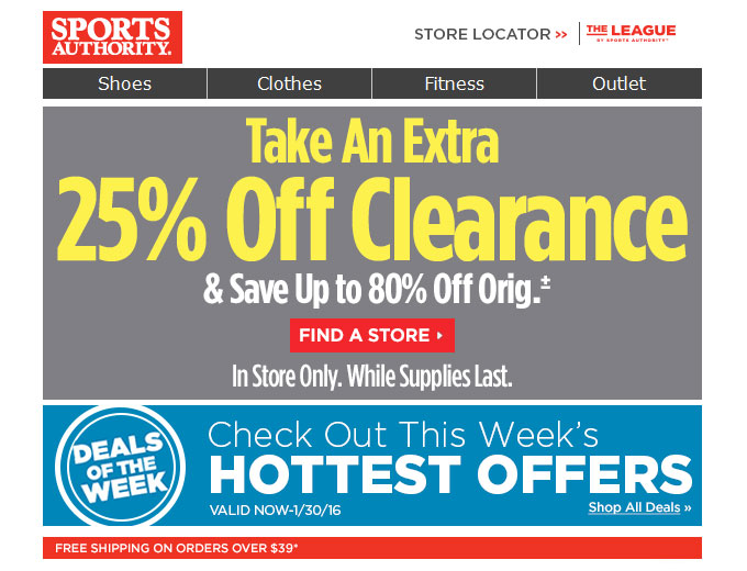 Extra 25% off Clearance Items at Sports Authority