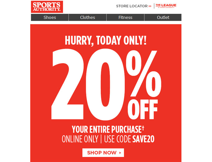 Sports Authority Flash Sale - Extra 20% Off