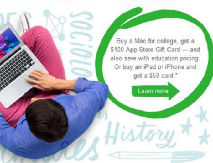 Free $50-$100 Apple App Gift Card w/Purchase