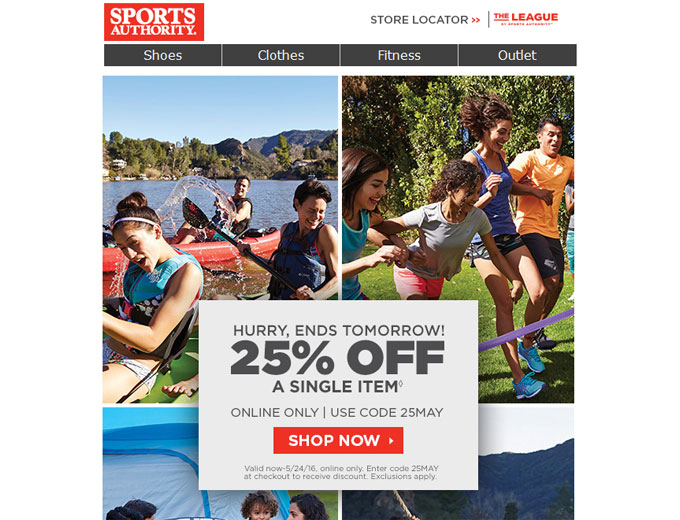 Sports Authority Flash Sale - Extra 25% Off