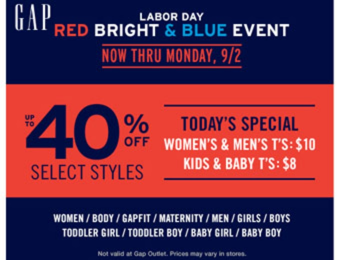 Gap Labor Day Event: Up to 40% off Select Styles