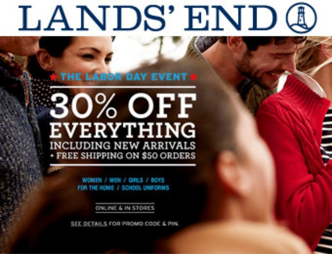 Extra 30% off Everything at Land's End