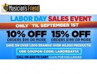 Musicican's Friend Labor Day Sale Event - Over 40,000 Items on Sale