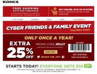 Kohl's Cyber Friend & Family Event - 25% off