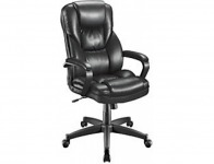 69% off Realspace Fosner High-Back Bonded Leather Chair, Black