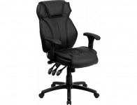 68% off Executive Lumbar Support Swivel Office Chair Black Leather