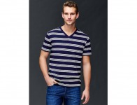 60% off Gap Vintage Wash Stripe V Neck T Shirt - Dark night
