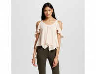 70% off Women's Woven Cold Shoulder Ruffle Blouse