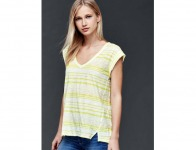 63% off Gap Women Slub Stripe Roll Sleeve Tee