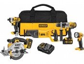 73% off DEWALT 20-Volt Max (3Ah) Lithium-Ion Combo Kit (5-Tool)