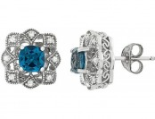 80% off Vera Wang Lab-Created Topaz & 1/6 cttw Diamond Studs
