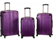 80% off Rockland 3pc Abs Luggage Set - Purple