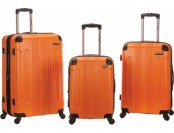 77% off Rockland 3pc Abs Luggage Set - Orange