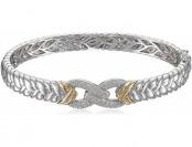 79% off Silver 14k Gold Diamond Braided Infinity Bangle Bracelet