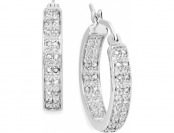 86% off Victoria Townsend Rose-Cut Diamond Two-Row Hoop Earrings