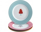 "76% off Cake Boss 8"" Dessert Plates (4-Count) - Red/Yellow/Pink/Blue"