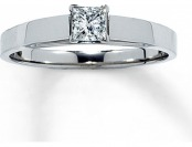 50% off Diamond Solitaire Ring 1/4 ct Princess-Cut 14K White Gold