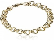 87% off 14k Yellow Gold 7mm Charm Bracelet, 7.25""