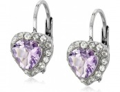 83% off Sterling Silver Amethyst Heart Shape Earrings