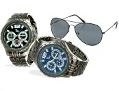 $470 off Yacht Men's Gunmetal Watch & Aviator Sunglasses Set