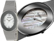 93% off August Steiner MOP Dial Silver-Tone Mesh Bracelet Watch