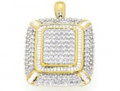 $500 off 2 Cttw. Diamond Yellow Gold Finish Square Pendant