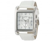 $28 off Geneva Silver-Tone and White Faux Leather Square Watch