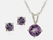 $144 off Genuine Amethyst Pendant & Stud Sterling Silver Set